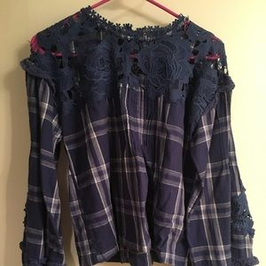 Free People Blue Plaid and Floral Lace Shirt